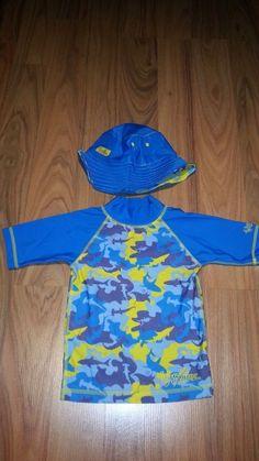 #Boys Shirt Hat #SwimWear #UV #SKINZ #OCEAN 4T Top Reversible Bathing #Toddler Suit  #UVSKINZ #SwimShirtSunHat
