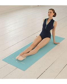 """Sitting down on the mat, extend your legs out straight and place your hands just behind your hips, with the fingers facing the outer edge of the mat,"""" says Bowers. """"Lift your hips off the mat as you stretch the elbows, keeping your chest open and your neck long. Pull your stomach in tight and then bend the elbows slightly. Repeat this 30 times."""