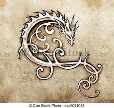 Banco de imagem - Esboço, tatuagem, arte, decorativo, dragão - banco de imagens, fotos royalty free, banco de imagens, estoque fotográfico, fotos, gráfico, gráficos