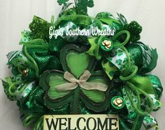 St. Patrick's Day Wreath, St. Paddy's Day Welcome Wreath, St. Patty's Day Deco Mesh Wreath, Shamrock Wreath, St. Paddy's Day Door Decor W102