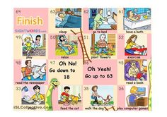 This is PART 3 and the last one of a typical snakes and ladders boardgame with vocabulary about daily routine, household chores and free time activities.Students have to make a sentence with the vocabulary on the square they land on. I've uploaded 4 boards in 3 PARTS because of the size of the files. But you should join the into only one big board.If you want to make the game more challenging you will also find:- a subject pronoun dice. Students have to make a sentence not only with the v...