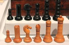 Philidor chess set by Merrifield, c 1850  England  Boxwood and ebony  King: 3 3/4 in.  Photo © Bailey Dolenc http://worldchesshof.org/