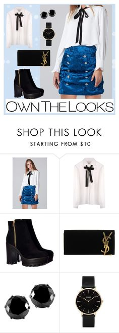 """Blue Velvet Double Jewel Button Skirt"" by ownthelooks ❤ liked on Polyvore featuring Yves Saint Laurent, West Coast Jewelry and CLUSE"