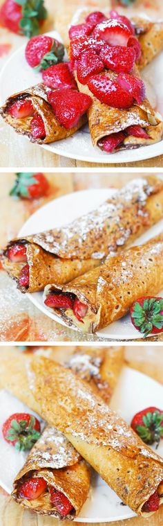 Peanut butter Nutella crepes.  Topped with strawberries and delicate strawberry-sugar syrup!