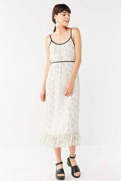 5cf662a9fe1 Urban Outfitters UO Floral Chiffon Ruffle Hem Midi Dress Chiffon Ruffle