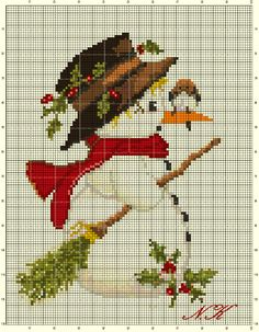 """Snowman with a bird"" cross stitch"