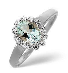 Aqua Marine 0.70CT And Diamond 9K White Gold Ring - Item E5746