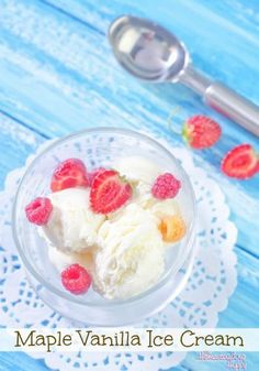 Cool and creamy ice cream with a touch of maple syrup and vanilla extract makes for a special treat anytime! The Homesteading Hippy