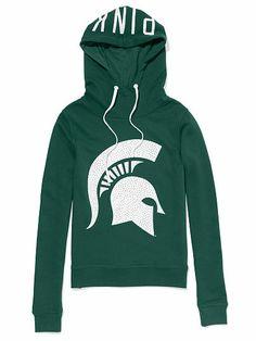 Michigan State University Bling Funnel-neck Hoodie PINK