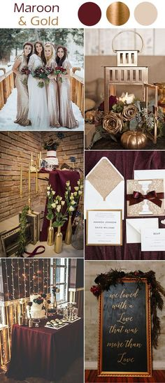 maroon red and glitter gold winter wedding color inspiration