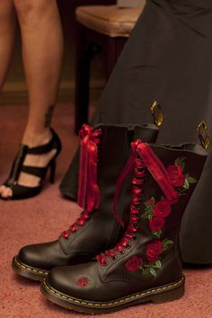 Red Rose Doc Martens with red laces