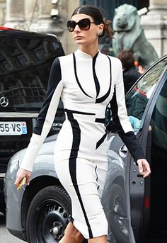 Graphic black & white - Giovanna Battaglia at Paris Fashion Week Fall 2012