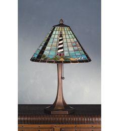 Meyda Tiffany 69409 21 H Cape Hatteras Lighthouse Table Lamp, Purple/Blue purple / blue Nautical Lamps, Nautical Table, Nautical Lighting, Lighthouse Lamp, Cape Hatteras Lighthouse, Table Lamps For Sale, Stained Glass Lamps, Fused Glass, Tiffany Lamps
