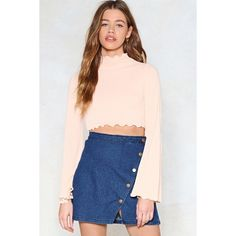 Nasty Gal Flare to Explain Crop Top (€14) ❤ liked on Polyvore featuring tops, nude, bell sleeve crop top, pink bell sleeve top, high neck crop top, flared sleeve crop top and flared crop top