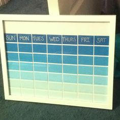 Dry-Erase Paint Swatch Calender!!! Don't throw away those paint swatches!  Reduce, Reuse, Recycle!  Put them in a picture frame and under the glass they become a reusable dry erase calender!!!