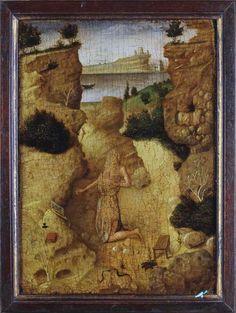 Anonimo , Antonello di Antonio (Antonello da Messina) - sec. XV - San Girolamo penitente nel deserto - insieme, verso