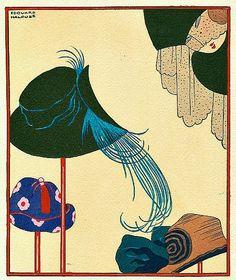 1923Edouard Halouze (French Art Deco, 1900-?) ~Marshall Field Invitation