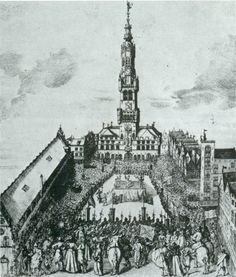 De onthoofding van Pieter Lanchals in 1488 - kopergravure uit 1736 van N. Heylbrouck
