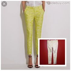 Mossimo Premium Denim Skinny Fit 4 Size 10 Bright green/yellow with creme design Brand new never worn But pants are dirty on bottom of legs from the store that's the way I bought them Can be laundered out No rips or majors stains. First pic is not actual item. Picture is just for inspiration MOSSIMO Jeans