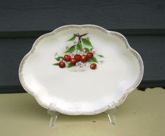 Vintage Cherry Fruit and Blossom Oval Platter Homer by junquegypsy, $29.20