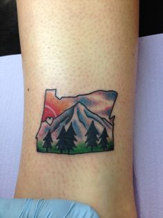 Oregon tattoo <3 One of the only colored tattoos I've seen and loved!
