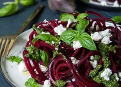 One of our favourite combinations, this recipe pairs spaghetti-style beetroot with creamy goat's cheese and fresh pesto. Goat Cheese Recipes, Veggie Recipes, Fall Recipes, Vegetarian Recipes, Healthy Eating Recipes, Healthy Food, Vegan Snacks, Hemsley And Hemsley, Toasted Pumpkin Seeds