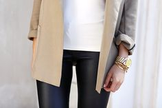 I want this watch!   Gold watch Michael kors outfit minimal chic street leather jeans