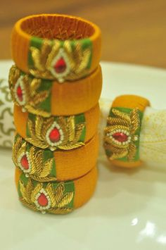 Silk Thread Bangles Design, Silk Bangles, Bridal Bangles, Thread Jewellery, Textile Jewelry, Handmade Clothes, Handmade Jewelry, Earring Tutorial, Jewelry Patterns