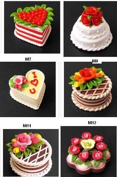 INSPIRATION: miniature - looks simple enough for cold porcelain! Miniature Crafts, Miniature Food, Miniature Dolls, Polymer Clay Cake, Polymer Clay Miniatures, Barbie Food, Doll Food, Quilling Cake, Tiny Food