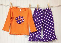 toddler girls CLEMSON TIGER PAW ruffle pant set  by wrententen
