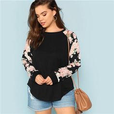 10d232b45ce Floral Print Raglan Sleeve Round Neck Long Sleeve Plus Size T-Shirt