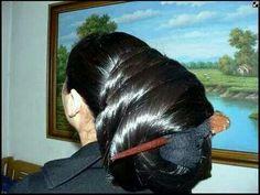 Amazing and awsome bun. Like to meet this women with such great bun! Amazing and awsome bun. Saree Hairstyles, Indian Hairstyles, Bun Hairstyles For Long Hair, Braids For Long Hair, Straight Hairstyles, Permed Hairstyles, Super Long Hair, Big Hair, Chi Chi