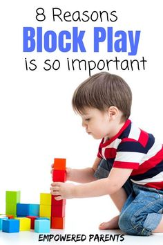 Children love playing with blocks and building new creations with them! There are many benefits of block play during the preschool years. Check out these 8 reasons your child should play with blocks often! Play Based Learning, Toddler Learning, Learning Through Play, Toddler Preschool, Early Learning, Preschool Curriculum, Preschool Learning, In Kindergarten, Preschool Activities