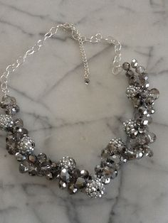Silver and Grey Statement Necklace by islandhousedesigns on Etsy, $38.00