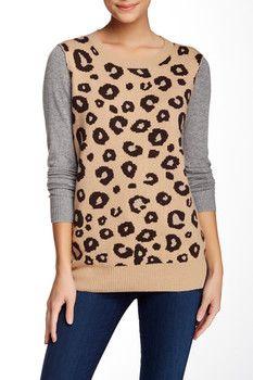 Michael Stars Leopard Print Wool Blend Sweater
