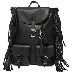 Saint Laurent Leather Fringed Backpack (7.295 RON) ❤ liked on Polyvore featuring bags, backpacks, black, leather knapsack, black leather backpack, leather fringe bag, black fringe bag e leather backpack