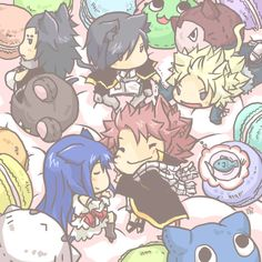 #FairyTail Chibi dragon slayers & the exeed cats are stuffed.
