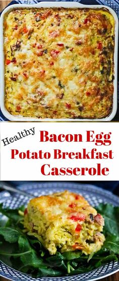 Healthy Bacon Egg Potato Breakfast Casserole - this lightened up version of a traditional Amish breakfast casserole is perfect for breakfast or brunch - it reheats well too ~ http://jeanetteshealthyliving.com