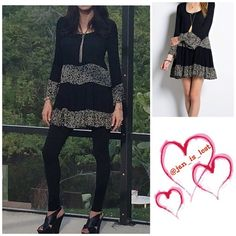 """BOGO 60% OFF SALE Boho Mini Dress  Soooo Cute  Shapeless & swingy crepe mini dress (32"""" long) with mix & match mini bell sleeves.. Fully lined . 100% Rayon!!   NWT  No Trades ✅ Offers Considered*✅ *Please use the blue 'offer' button to submit an offer. acxx Dresses Mini"""