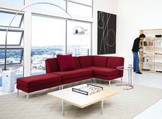 Modern living room using arco lamp at Comfortablehomedesign.com