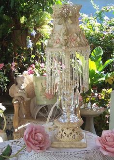 Romantic Chic crystal Lamp with Ribbon Rose Lampshade Oh So Vintage Lk Paris French Boudoir