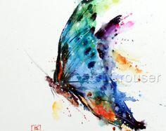 Mariposa mariposa acuarela mariposa arte impresión por InkistPrints