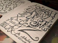 LINDA KITTMER'S FIBRE ART, PHOTOGRAPHY & JOURNALLING: Alphabets, Word Grids and February's Sketchbook Challenge