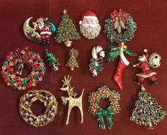 Vintage Christmas Brooch Jewelry Lot Reindeer Wreaths Santa Trees | Collectibles, Holiday & Seasonal, Christmas: Modern (1946-90) | eBay!