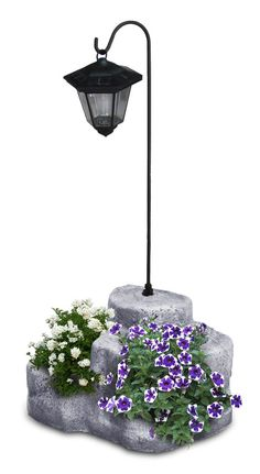 Lanterna solare da giardino con base media in finta roccia, antichizzata