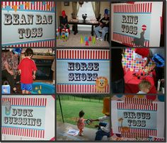 Circus/Carnival party games and signage.--such great ideas AND links to where she bought supplies/decorations