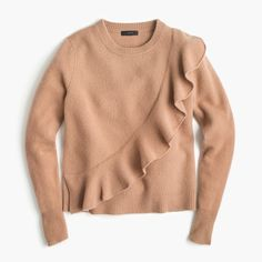 Ruffle crewneck in boiled wool $69.50