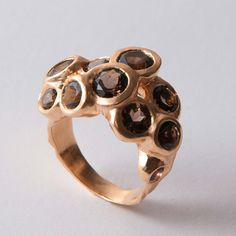 Reef - 14K Rose Gold and Smoky Quartz Statement Ring by Doron Merav