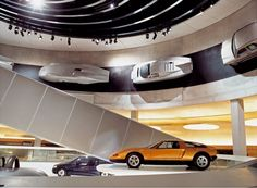 "Inside the MB Museum.that's the old ""Silberpfeil"" racecar prototype top left. Stuttgart Germany, Mercedes Benz, Car Museum, Benz Car, Display Design, Design Museum, Car Show, Motor Car, Architecture"