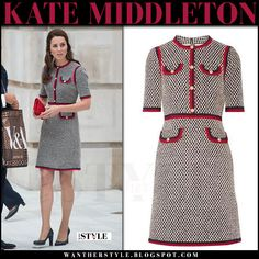 Kate Middleton in grey tweed mini dress with red trim from Gucci